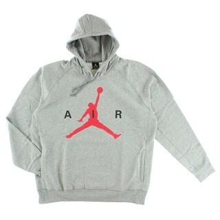 Jordan Mens Air Jordan Air Pullover Hoodie Grey - Grey/Red
