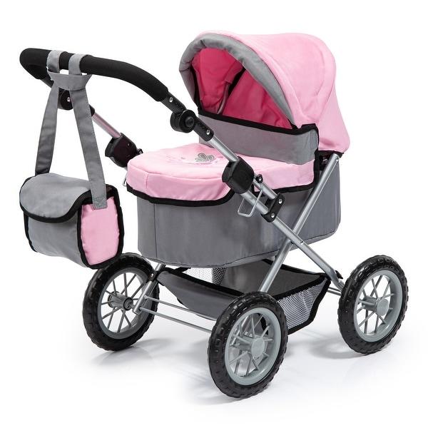 Trendy Pram Stroller For Toy Baby Dolls - Grey/Pink. Opens flyout.