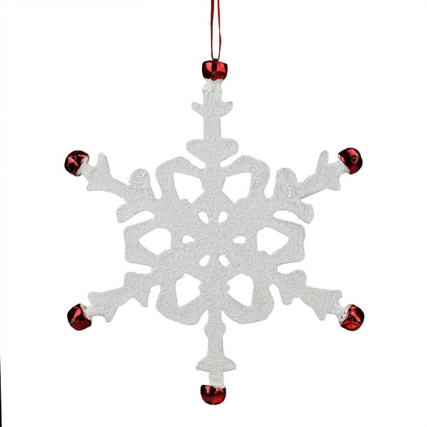 "7"" White Snowflake with Red Jingle Bells Christmas Ornament"