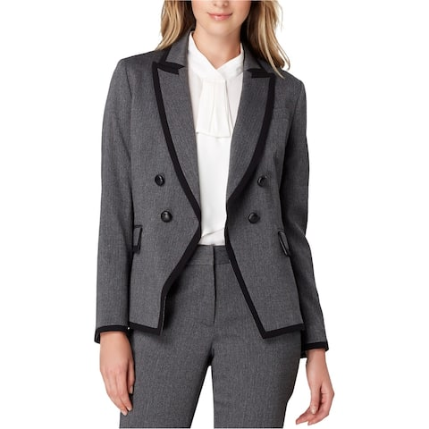 Tahari Womens Contrast Trim Double Breasted Blazer Jacket, Grey, 8