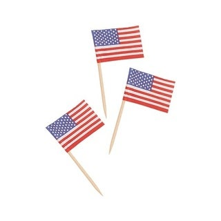 Club Pack of 1200 American Flag Food, Drink or Decoration Party Picks 2.5""