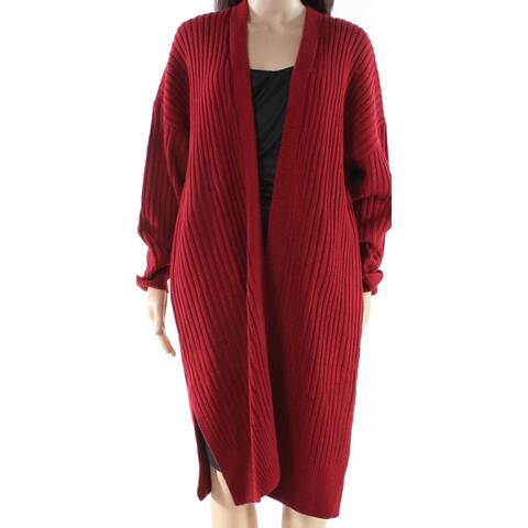 Lush Red Women's Size Small S Ribbed Knitted Cardigan Sweater