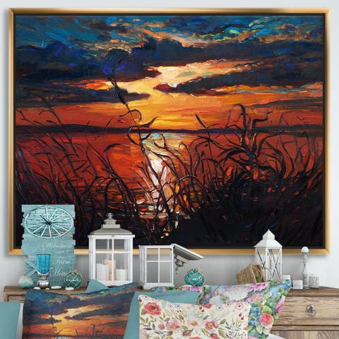 Designart 'Romantic Sunset By Lakeside' Farmhouse Framed Canvas Wall Art Print