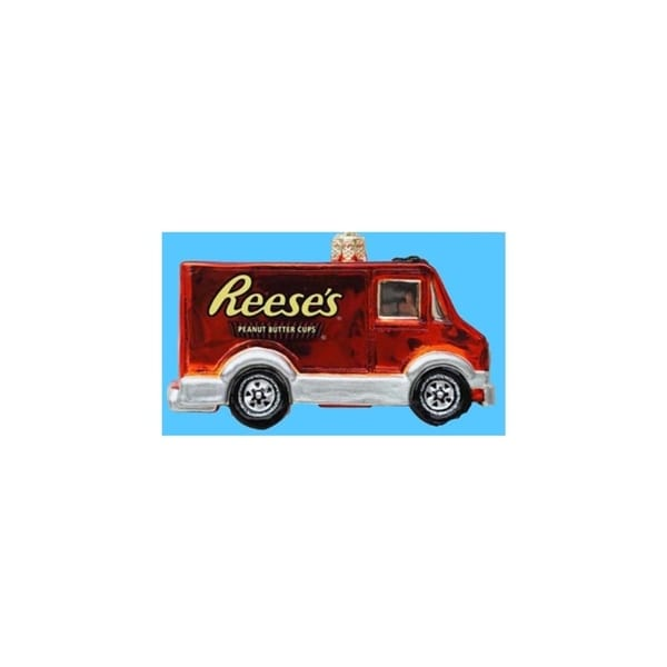 "3.5"" Chocolate Shop Handcrafted Glass Hershey's Reese's Truck Christmas Ornament"