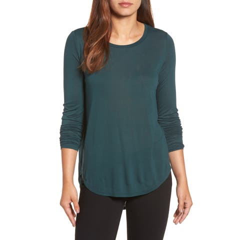 Halogen Green Womens Size Medium M Scoop-Neck Shirttail Tee Knit Top