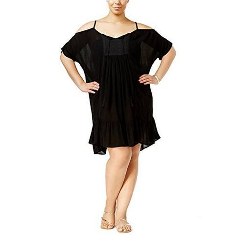 Raviya Women's Plus Size Cold-Shoulder Peasant Cover-up Black 1X - 1X Plus