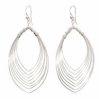 Women's Eye Of The Peacock Sterling Dangle Earrings - Sterling Silver - Hangs 2""