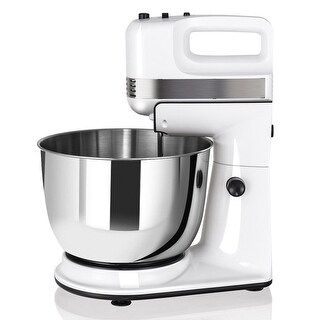 Costway 250W 5-Speed Stand Mixer w/ with Dough Hooks Beaters and Stainless Steel Bowl - White