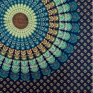 Handmade 100% Cotton Mandala Peacock Blue Tapestry Tablecloth Spread Twin 60x90