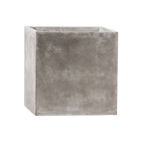 Traditional Style Square Shaped Cement Pot with Smooth Design, Gray