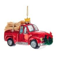 Kurt Adler Noble Gems Red Truck Loaded with Hay Glass  Holiday Ornament