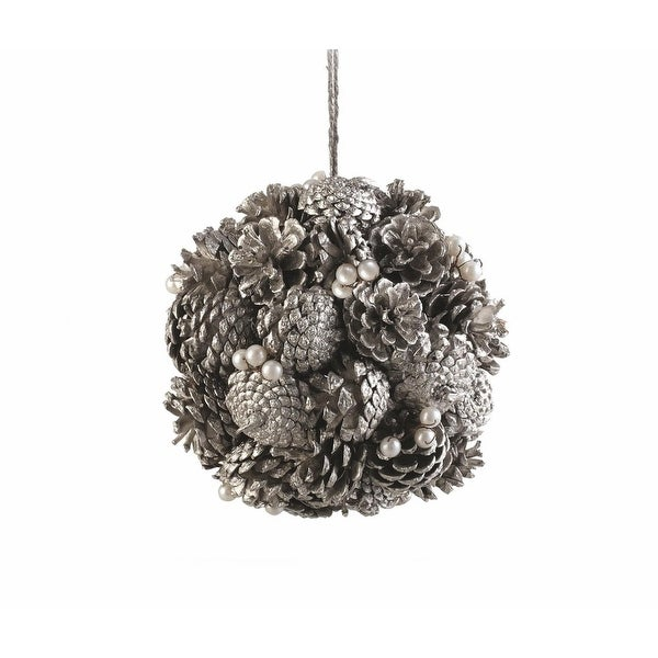 """7.5"""" Silent Luxury Platinum Vintage Pine Cone and Pearl Artificial Christmas Topiary Ball Ornament - silver"""