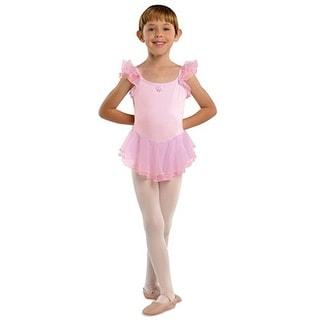 Danshuz Pink Flutter Sleeve Ballet Dance Dress Little Girls 2T-10