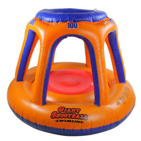 "48"" Orange and Blue Inflatable Giant Floating Shoot Ball Swimming Pool Game"