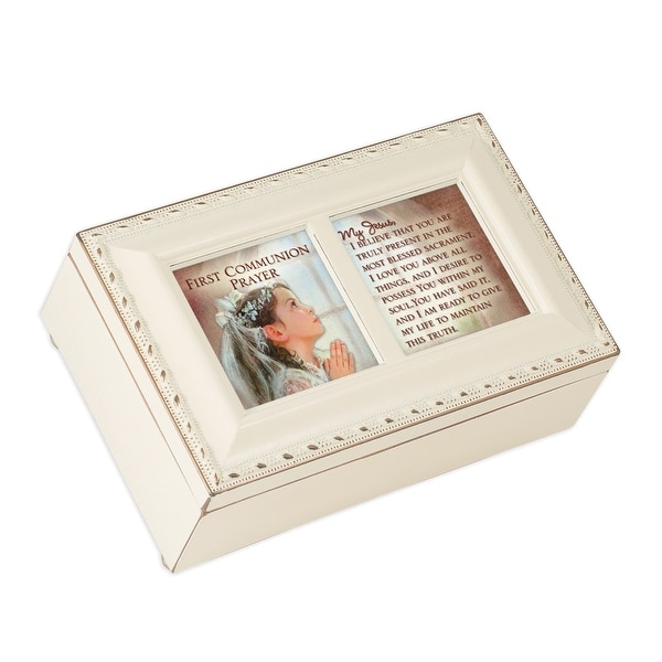 "6"" White and Brown Traditional First Communion Girl Prayer Musical Box - N/A"