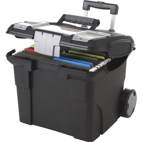 Storex storex portable file box on wheels 61507u01c - Black