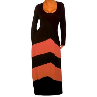 Funfash Plus Size Dress Black Peach Chevron Slimming Womens Maxi Dress