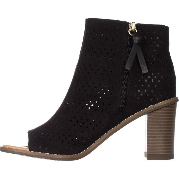 Open-Toe Ankle Booties, Black