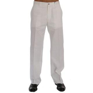 Dolce & Gabbana White Cotton Stretch Straight Fit Pants