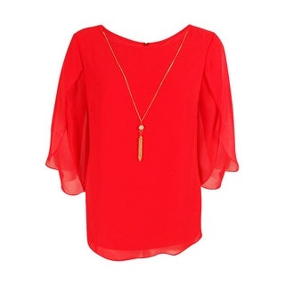 MSK Women's Solid Flutter Sleeve Blouse (XL, Coral) - xL