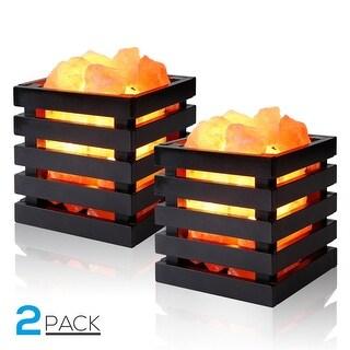 2 PACK Dimmable Himalayan Salt Lamp, UL-listed Plug, Air Purifier, Ambiance Lighting
