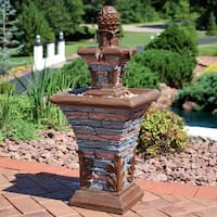 Sunnydaze Square 2-Tier Outdoor Fountain - LED Rope Light - Stacked Stone Design