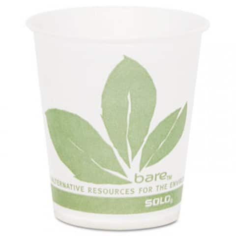 Bare Eco-Forward Treated Paper Cold Cups, 5 Oz, Green/White, 100/Sleeve, 30 Sleeves/Carton - White