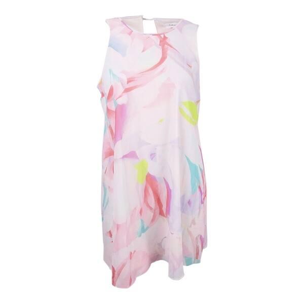 Calvin Klein Women\'s Plus Size Printed Trapeze Dress - Blush Multi