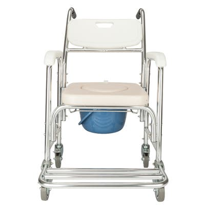 Aluminum Elder People Disabled People Pregnant Women Commode Chair Bath Chair - White & Beige Cushion