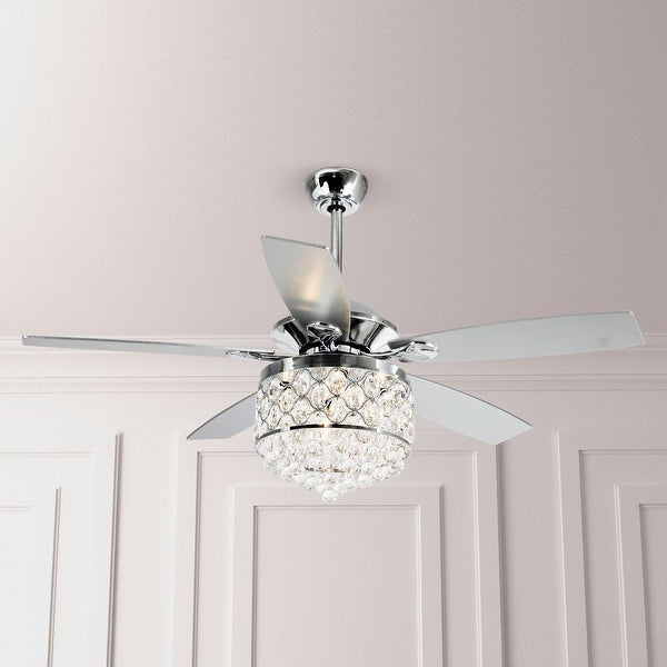 Chrome Crystal 52 Inch 5 Blade Ceiling Fan With Remote by Parrot Uncle