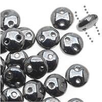 CzechMates Glass 2-Hole Round Flat Lentil Beads 6mm - Hematite (1 Strand)