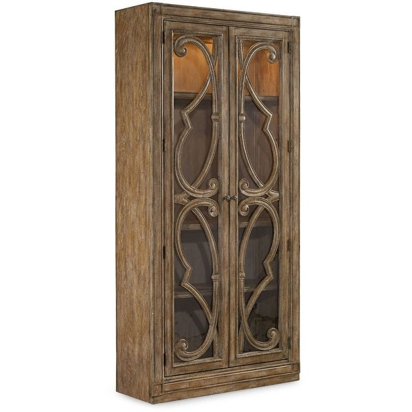 "Hooker Furniture 5291-50001 42"" Wide Oak Wood Display Cabinet from the Solana Collection - Light Caramel Latte"