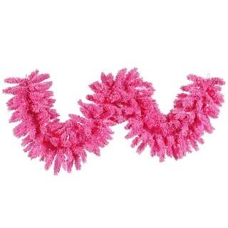 """9'x 14"""" Flocked Pink Garland 100Pk 210T"""