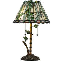 """Meyda Tiffany 138588 Loro Paraiso 2 Light 24"""" Tall Hand-Crafted Table Lamp with Stained Glass - n/a"""