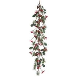 - Frosted Skip Pine W/Berry/Holly Garland 48""