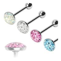 "Surgical Steel Barbell with Paved - Gem Round. Clear Epoxy Surface - 14 GA - 5/8"" Long (Sold Ind.)"