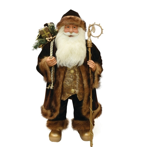 "24"" Brown and Bronze Standing Santa Claus Christmas Figure with Staff"