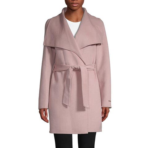 T Tahari Powder Pink Lightweight Wool Wrap Coat Jacket