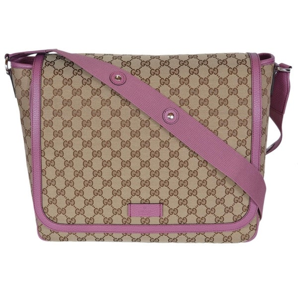 0e30aeb4553a Gucci 510340 Beige Pink Original Canvas GG Convertible Diaper Baby Bag