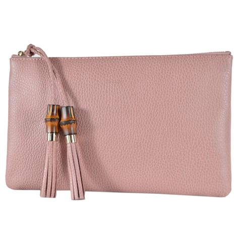 df1e83f29 Gucci 449652 Pink Leather Bamboo Tassel Pull Zip Top Clutch Pouch Purse