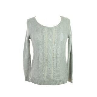 Maison Jules Silver Long-Sleeve Metallic-Flecked Sweater L
