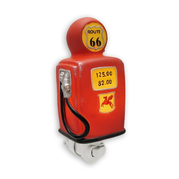 Retro Look Route 66 Gas Pump Night Light - Red