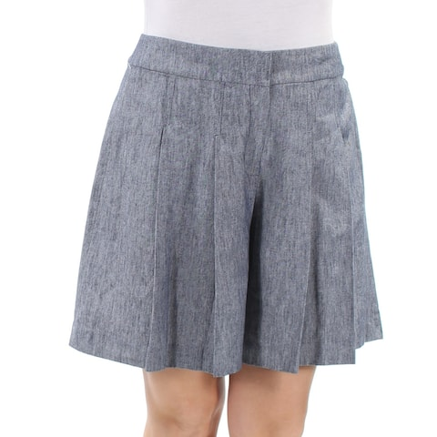 NINE WEST Womens Navy Pleated Short Size: 10
