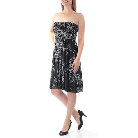 MAXMARA $455 Womens New 6360 Black White Floral Strapless Circle Dress M B+B