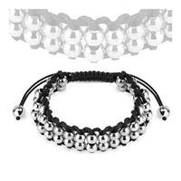 Bracelet with Double Layered Stainless Steel Metallic Beads (9 mm) - 7.5 in