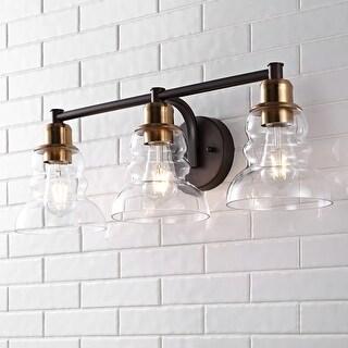 Link to Manhattan Vintage Industrial Rustic LED Vanity by JONATHAN  Y Similar Items in Bathroom Vanity Lights