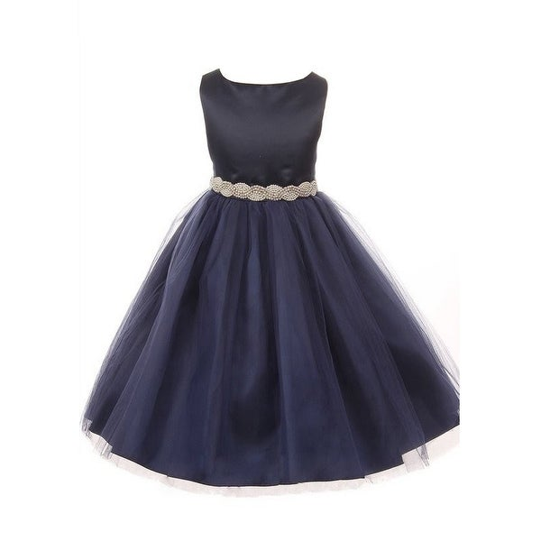92b241c34f0 Shop Little Girls Navy Satin Tulle Pearl Rhinestone Trim Flower Girl Dress 2 -6 - Free Shipping Today - Overstock - 23540885