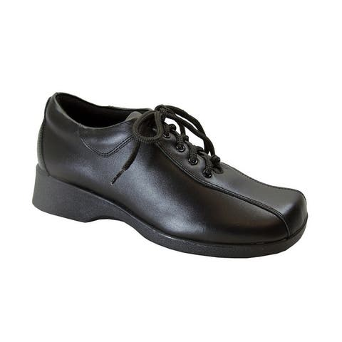 24 HOUR COMFORT Caprice Womens Wide Width Leather Lace-Up Shoes
