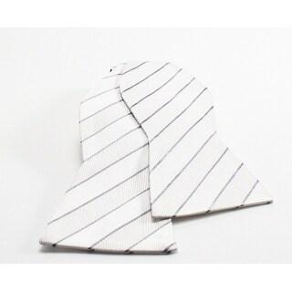 TALLIA NEW White Grey Striped Men's Formal Classic Woven Silk Bow Tie