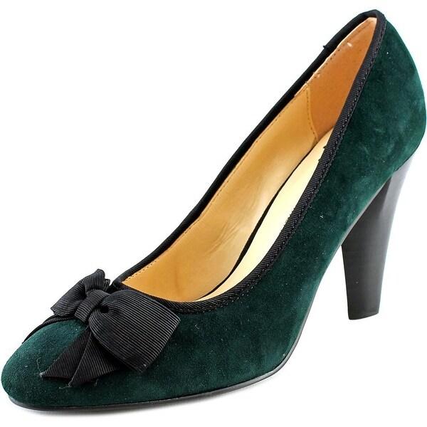 Isaac Mizrahi Julia Women W Round Toe Suede Green Heels